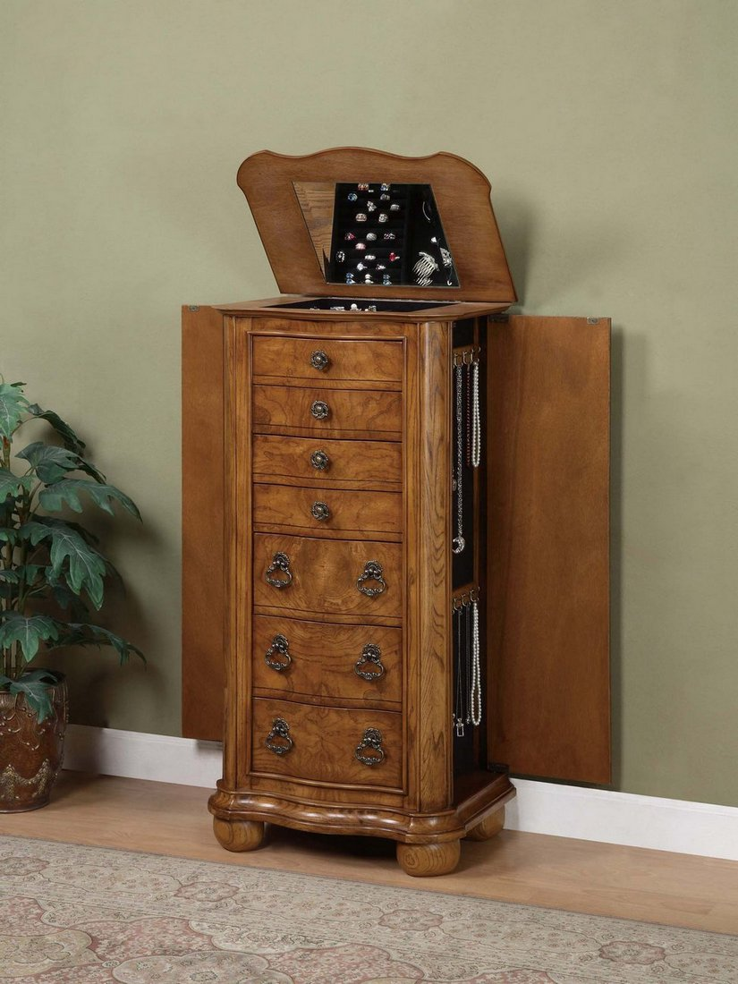 Image of: Powell Oak Jewelry Armoire
