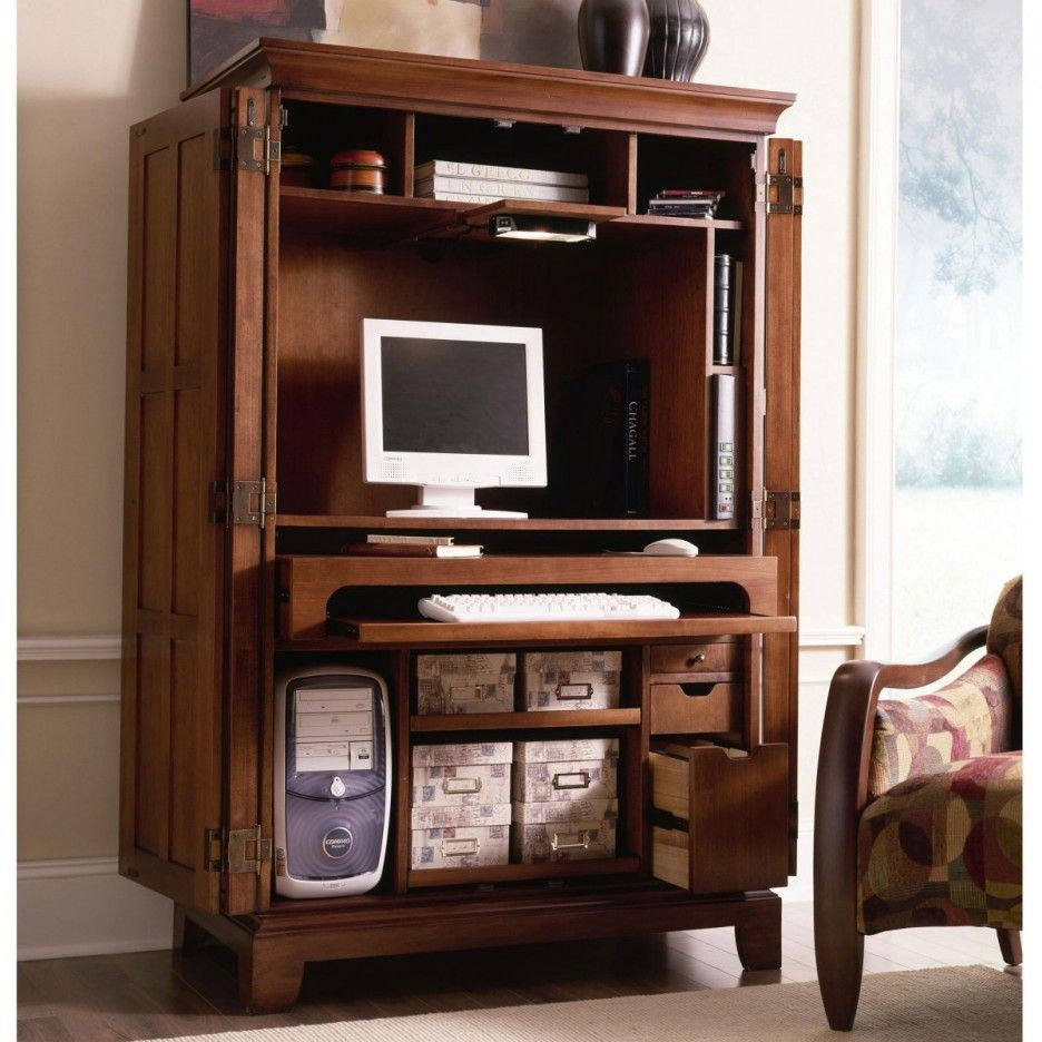 Image of: Review Computer Cabinet Armoire