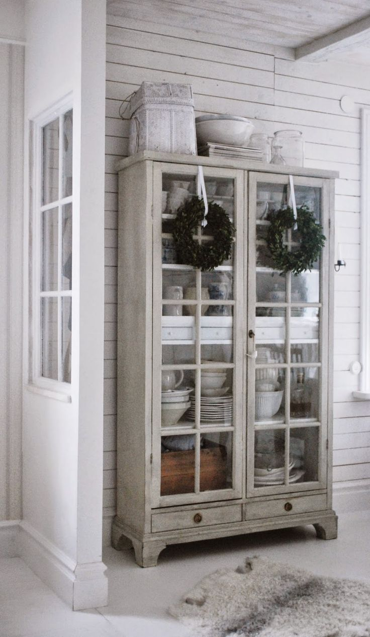 Image of: Rustic Glass Door Armoire