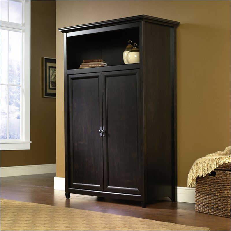 Image of: Simple Black Computer Armoire