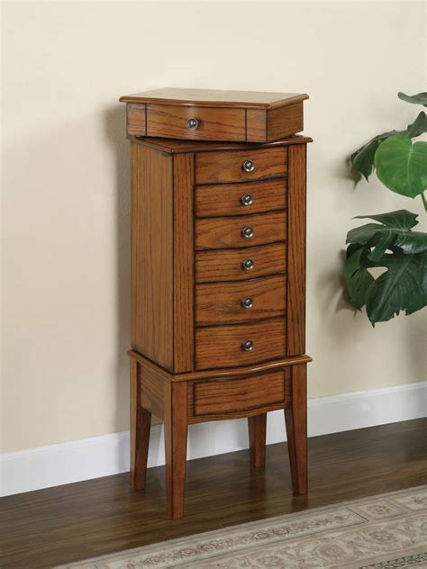 Image of: Simple Oak Jewelry Armoire