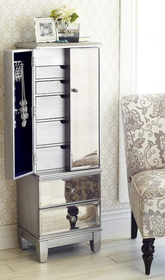 Image of: Small Mirrored Jewelry Armoire