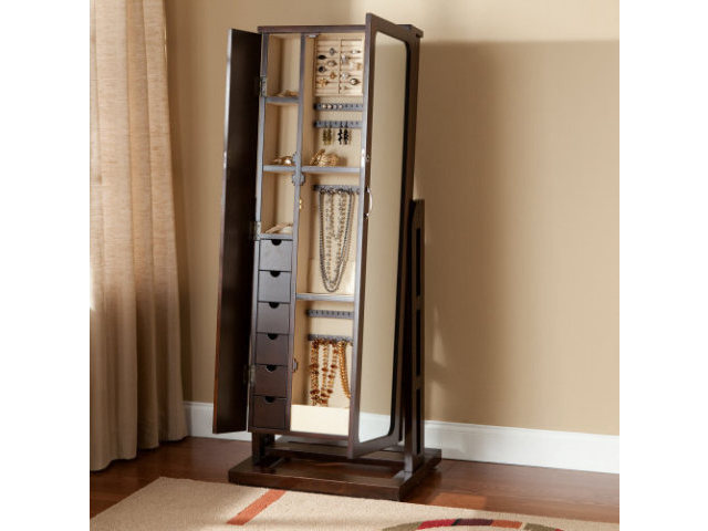 Small Stand Up Mirror Jewelry Armoire