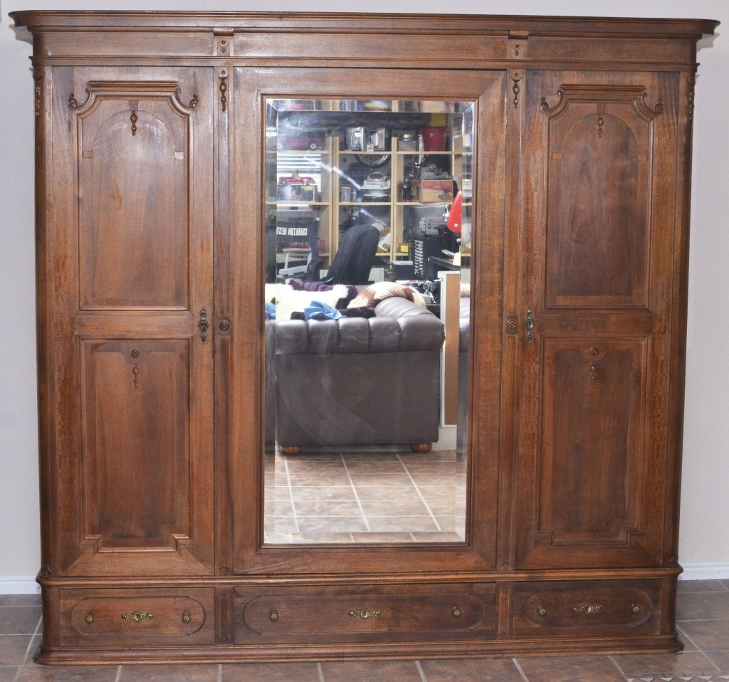 Image of: Solid Wood Armoire with Mirror