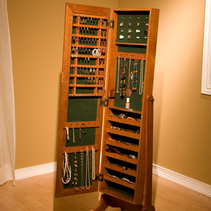 Image of: Traditional Standing Mirror Jewelry Armoire