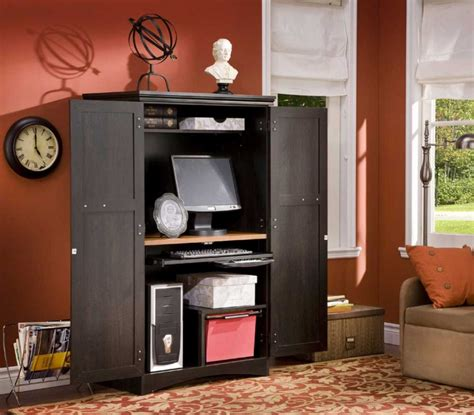 Unusual Black Computer Armoire