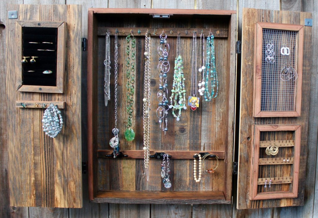 Picture of: Wall Mount Jewelry Armoire Oak