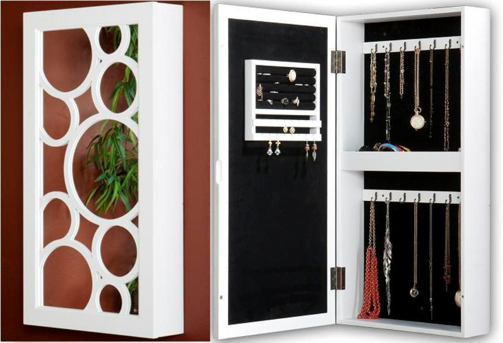 Picture of: Wall Mount Jewelry Armoire White