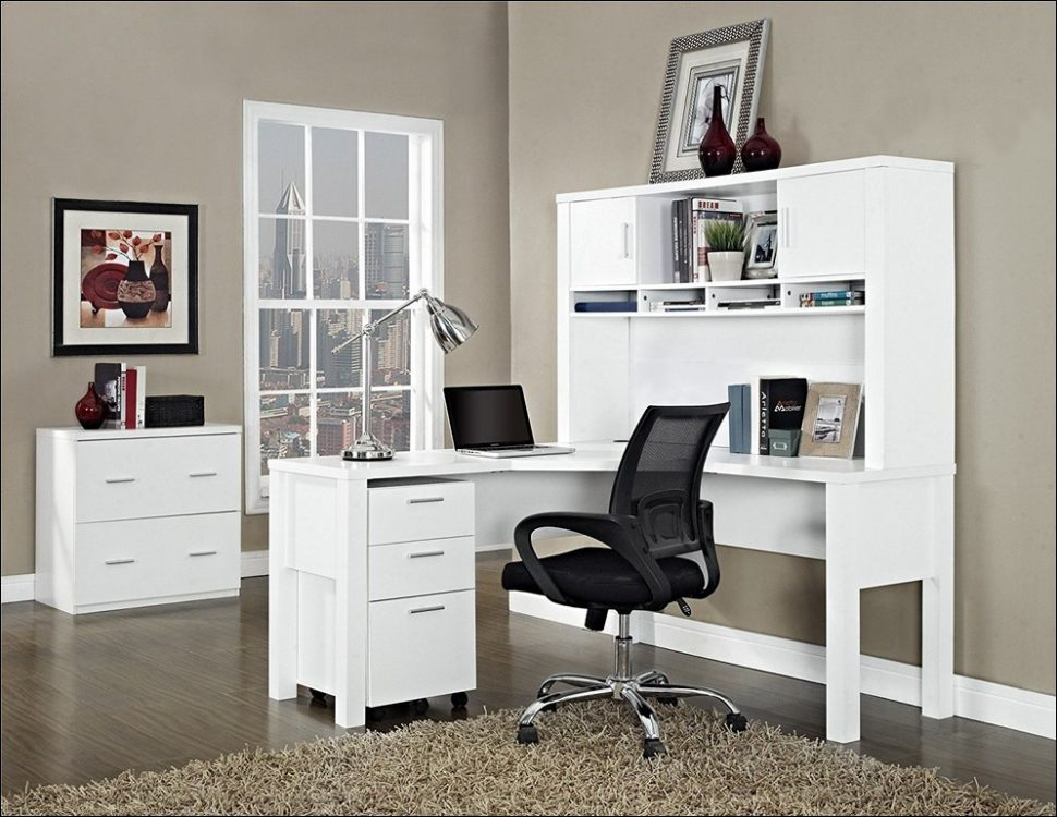 Image of: White Corner Armoire Desk