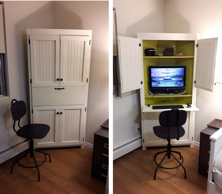 Picture of: White Corner Computer Armoire
