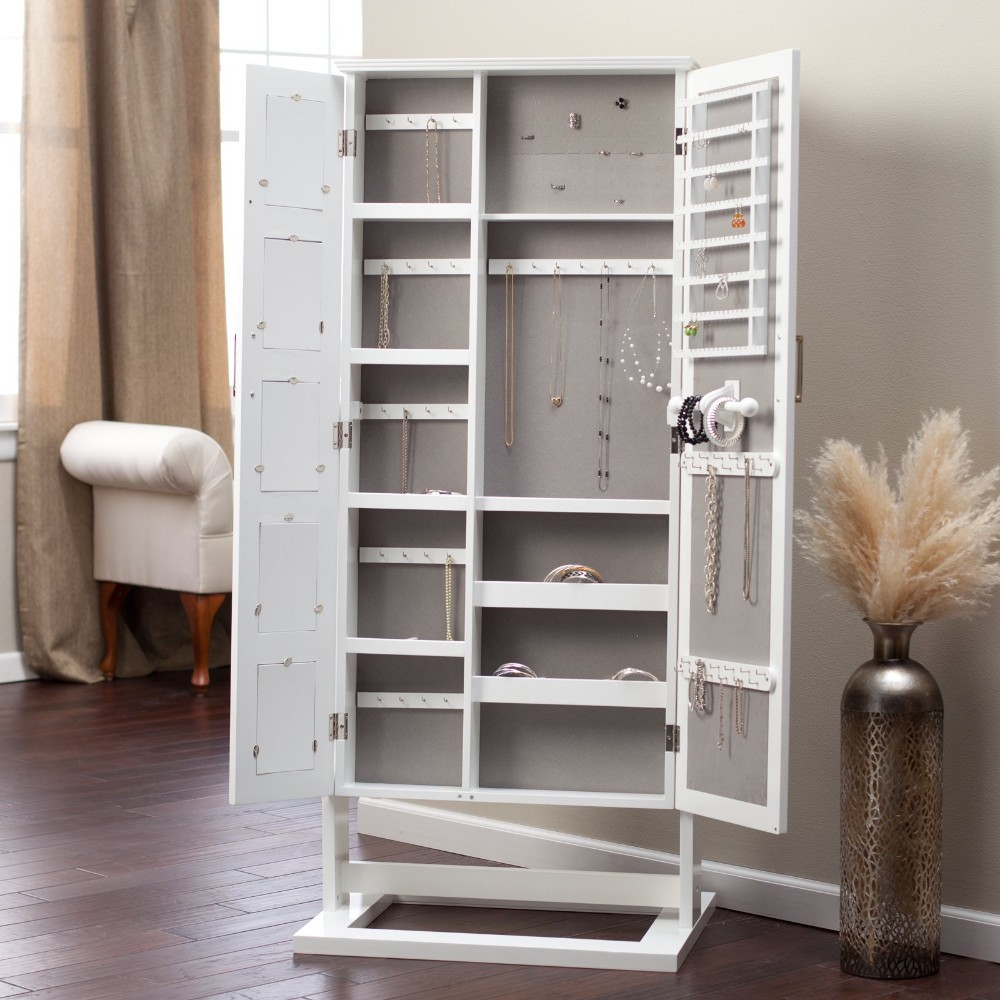 White Floor Mirror Jewelry Armoire