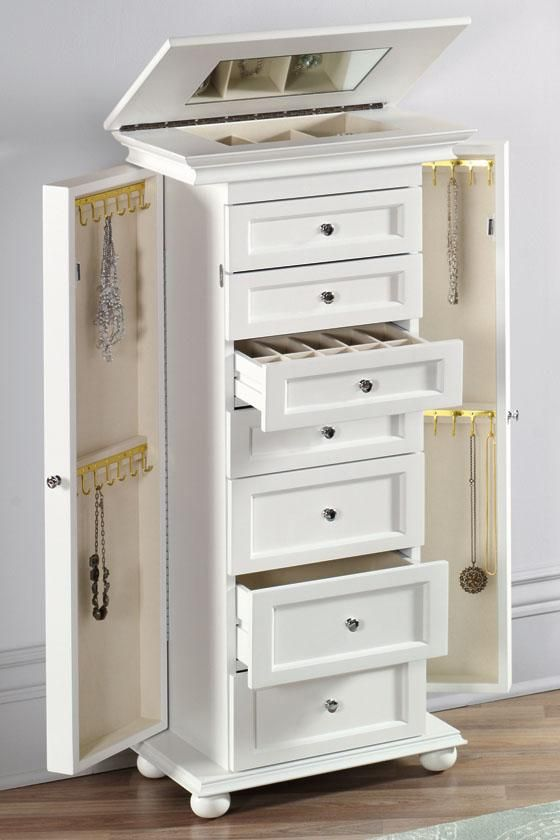 Image of: White Jewelry Chest Armoire