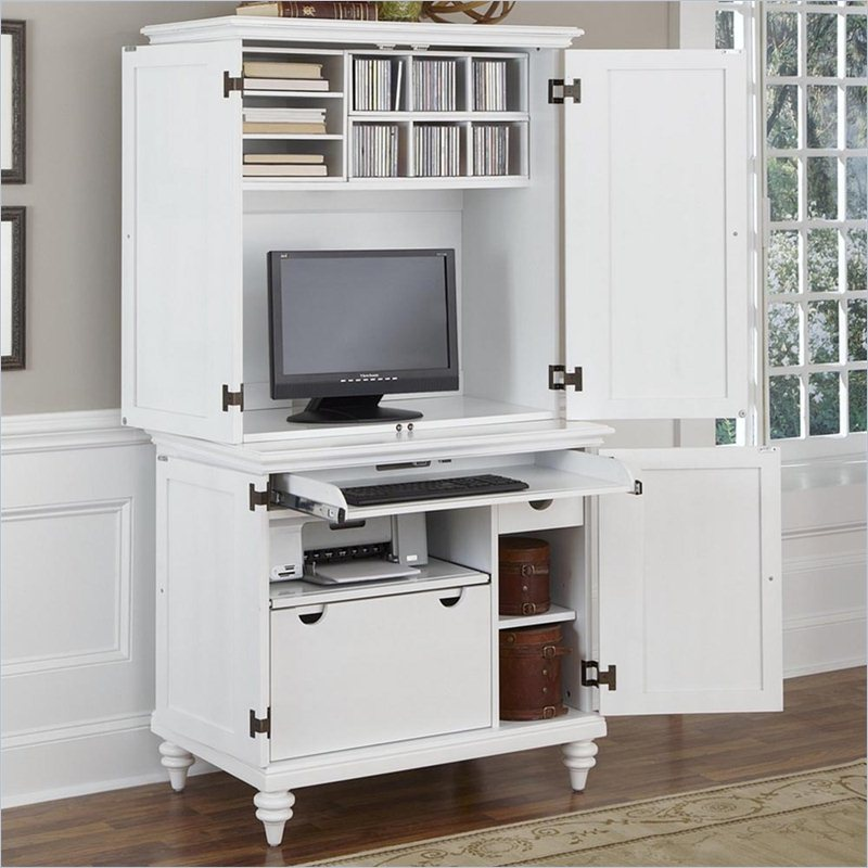 White Small Computer Armoire