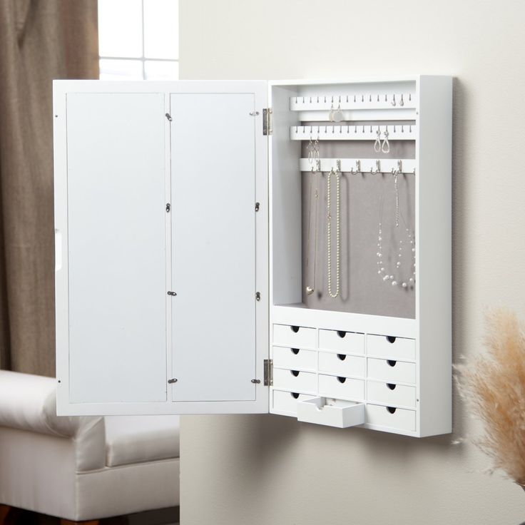 White Wall Mount Jewelry Armoire