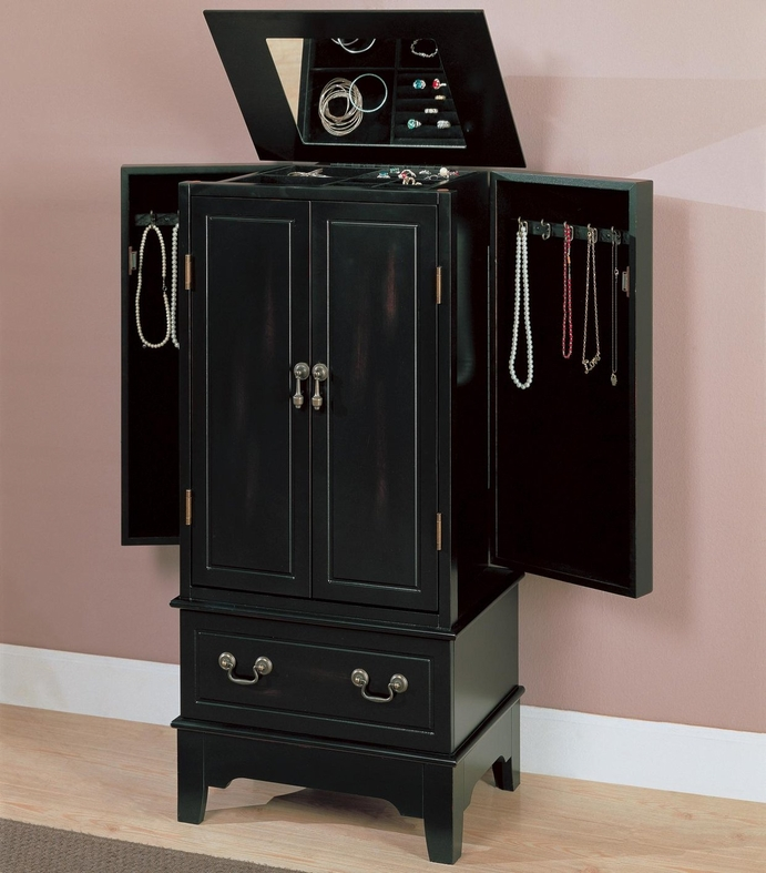 Wood Black Jewelry Armoire