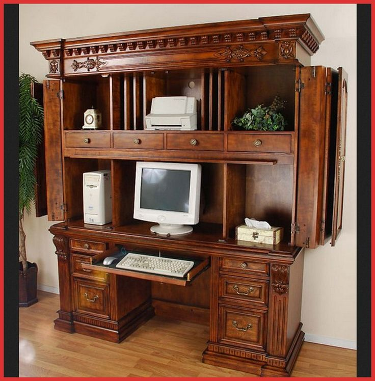 Image of: Wood Computer Cabinet Armoire