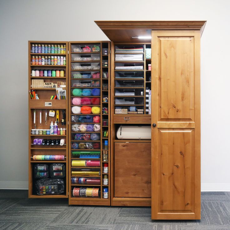 Image of: Wood Craft Storage Armoire