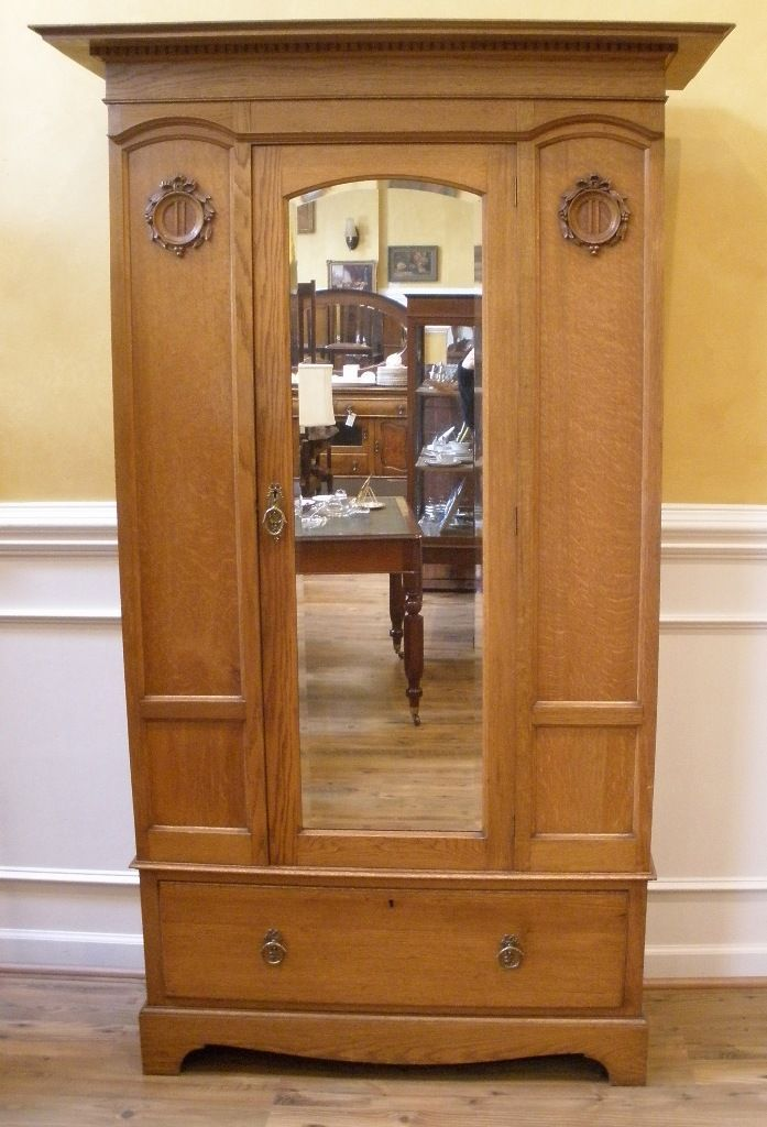Wooden Mirrored Armoire Wardrobe