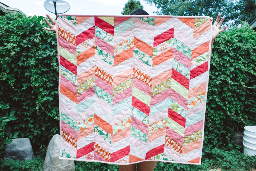 Image of: Baby Girl Quilt Patterns Chevron