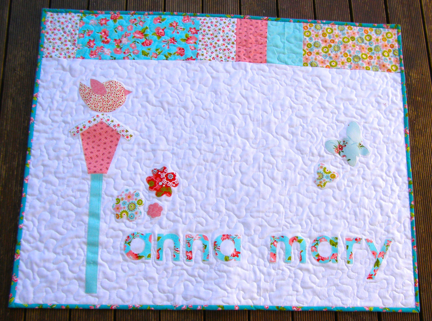 Image of: Baby Girl Quilt Patterns White