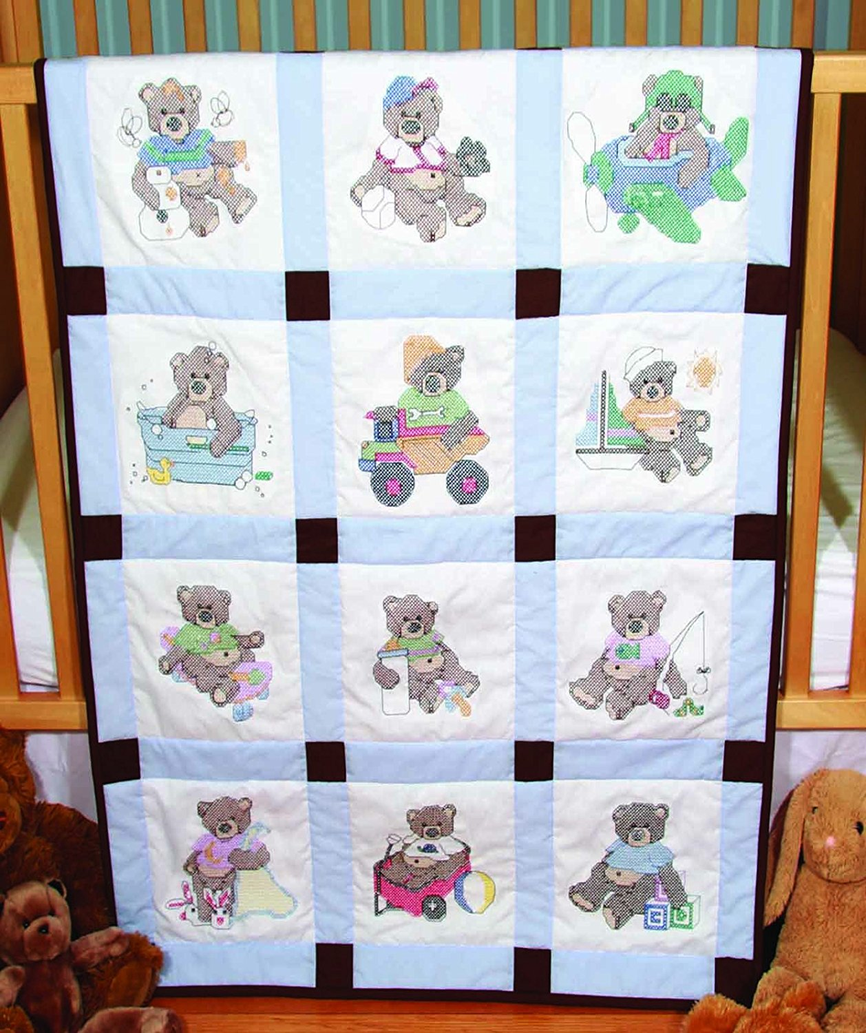 Bear Cross Stitch Baby Quilts