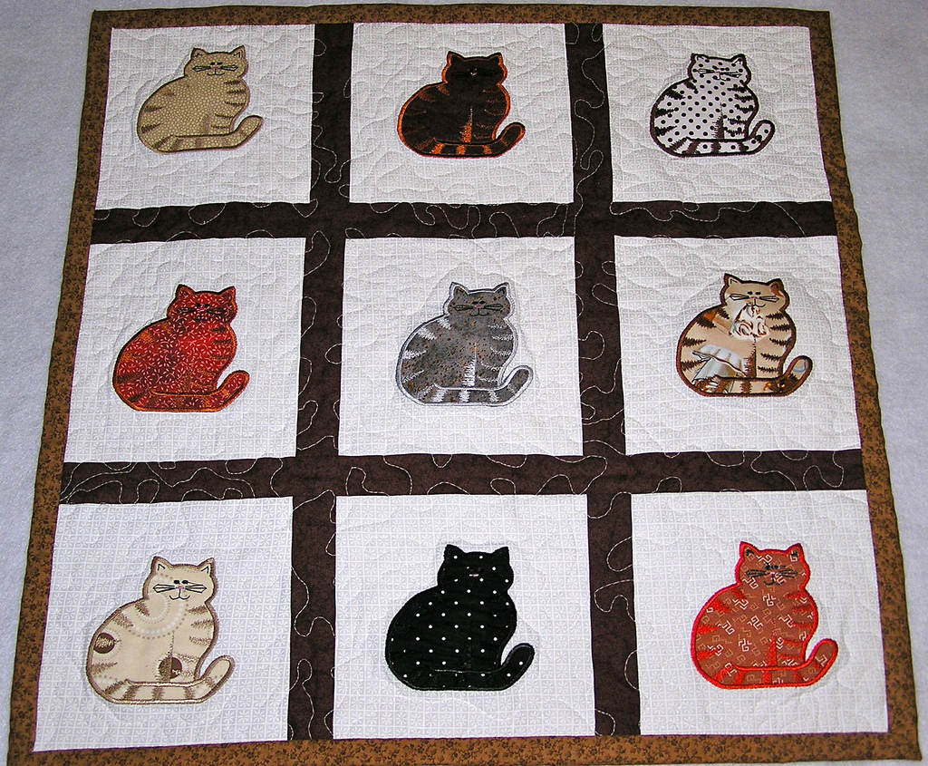 Image of: Cat Quilt Patterns Applique
