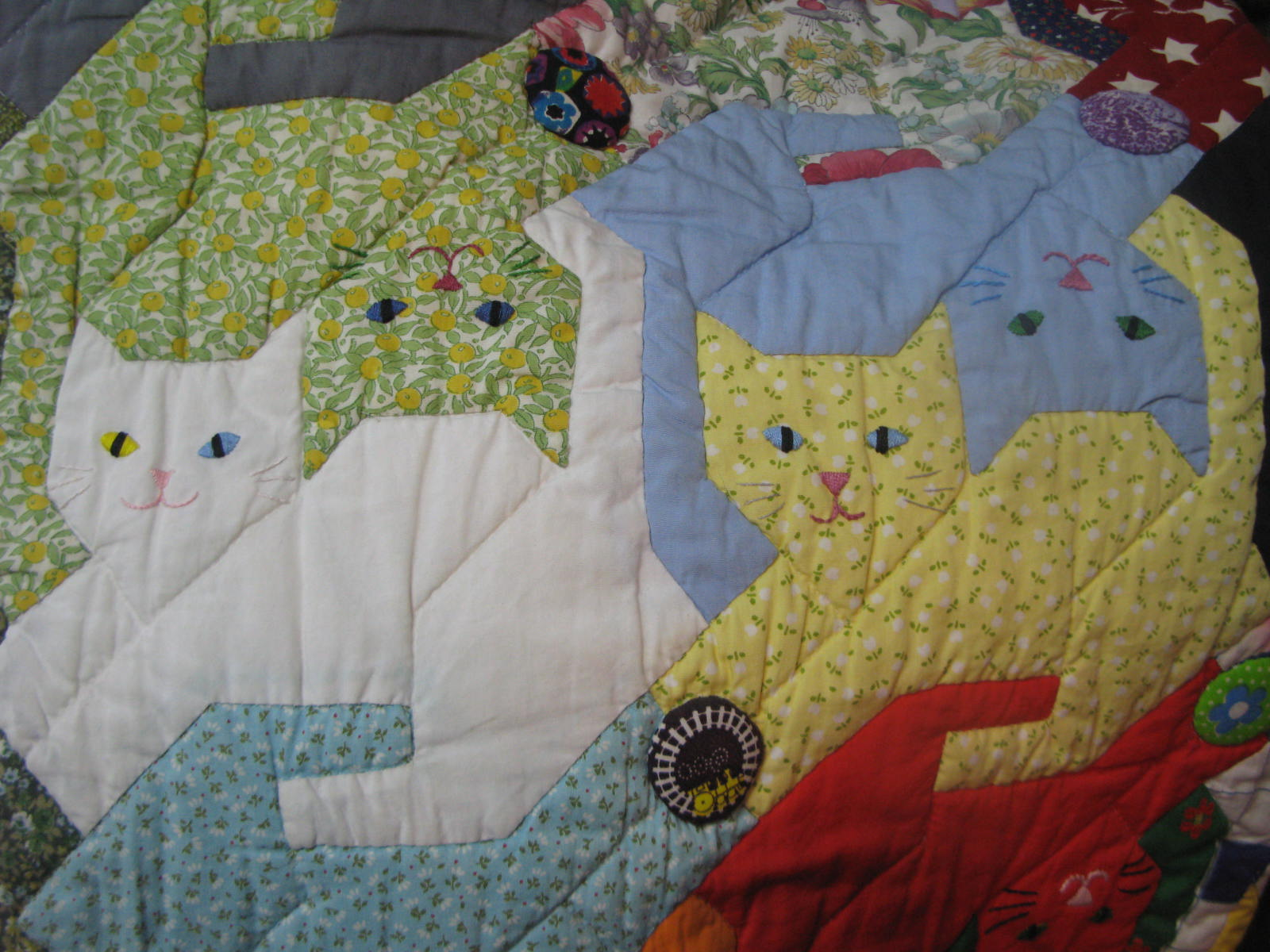 Image of: Cat Quilt Patterns Fabric