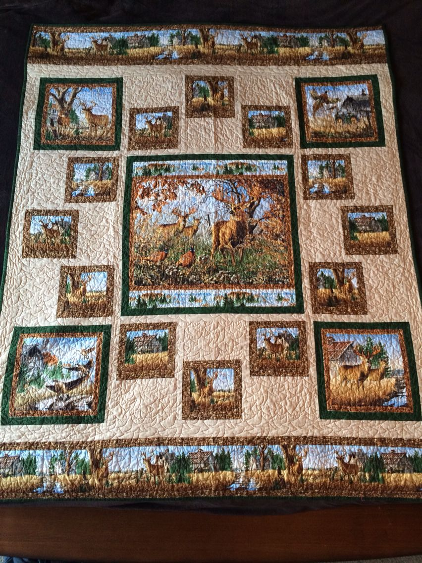 Picture of: Deer Fabric Panels for Baby Quilts
