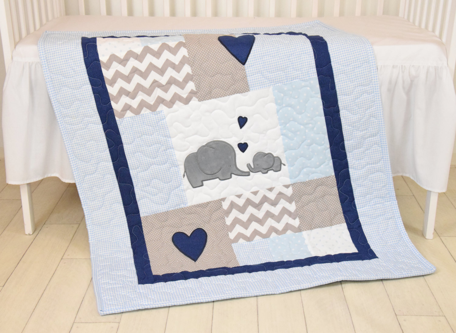 Image of: Elephant Baby Quilt Color