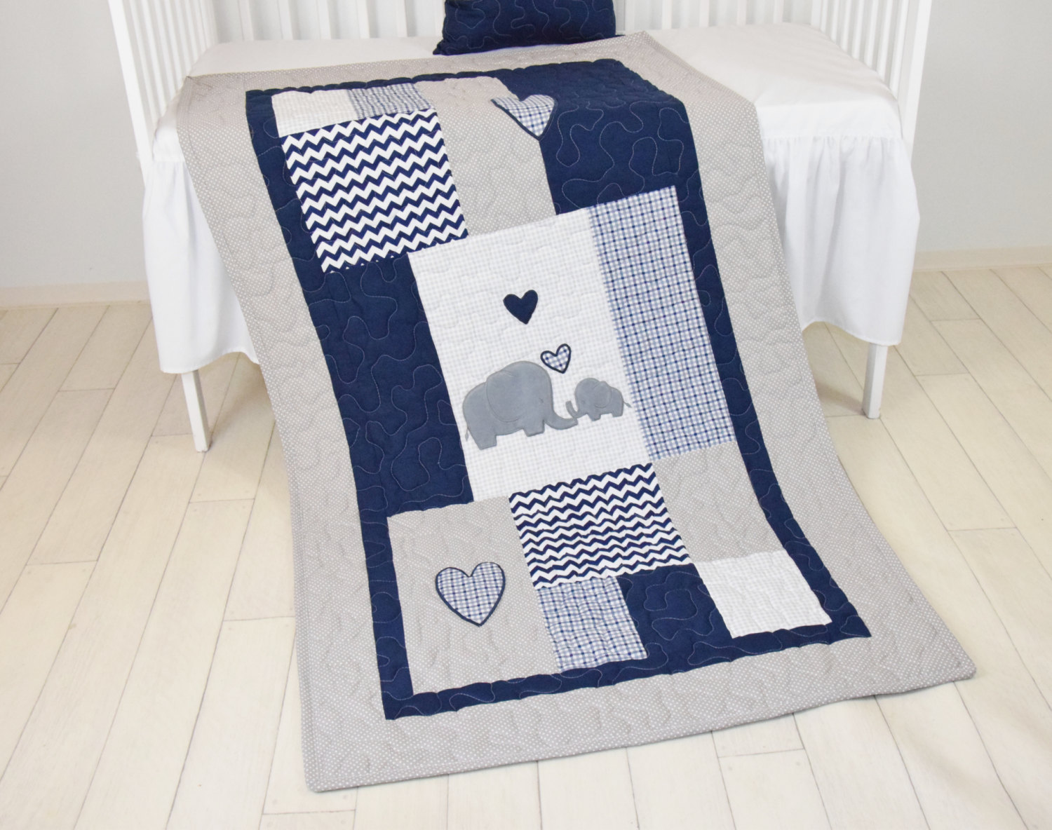 Image of: Elephant Baby Quilt Gray
