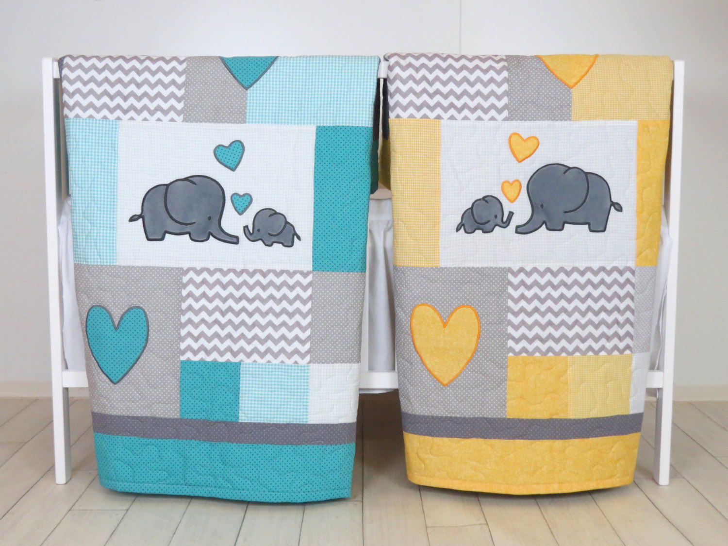Image of: Elephant Baby Quilt Twin