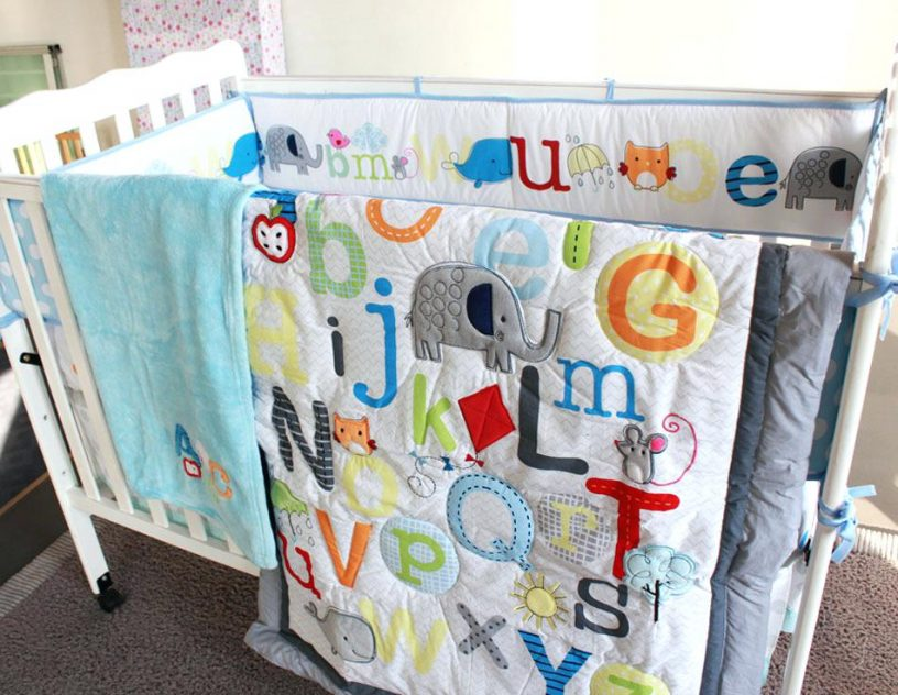 Image of: Embroidered Baby Quilts Bed