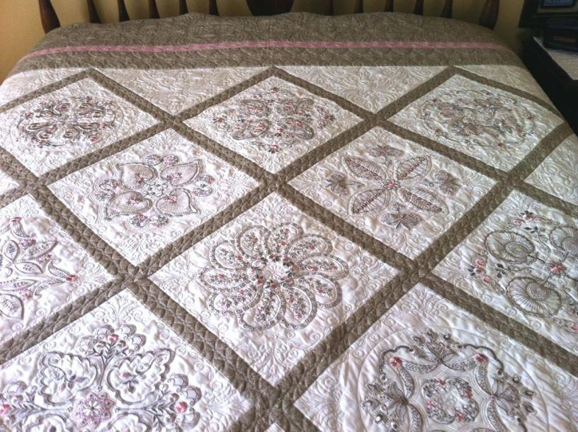 Image of: Embroidered Baby Quilts Flower