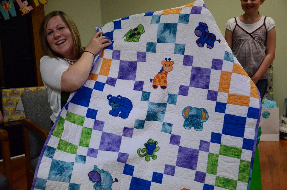 Image of: Embroidered Baby Quilts Large
