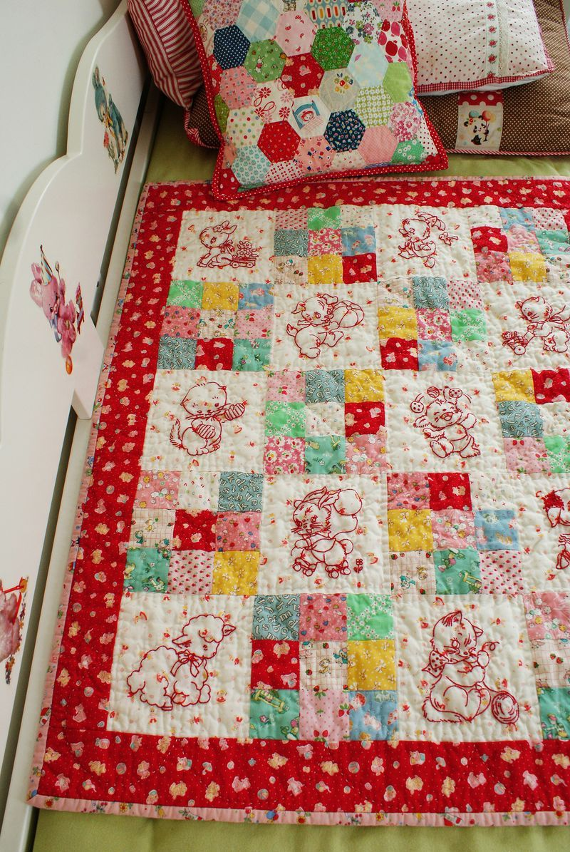 Image of: Embroidered Baby Quilts Red