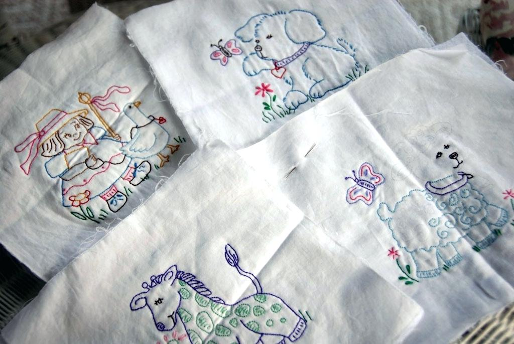 Image of: Embroidered Baby Quilts White