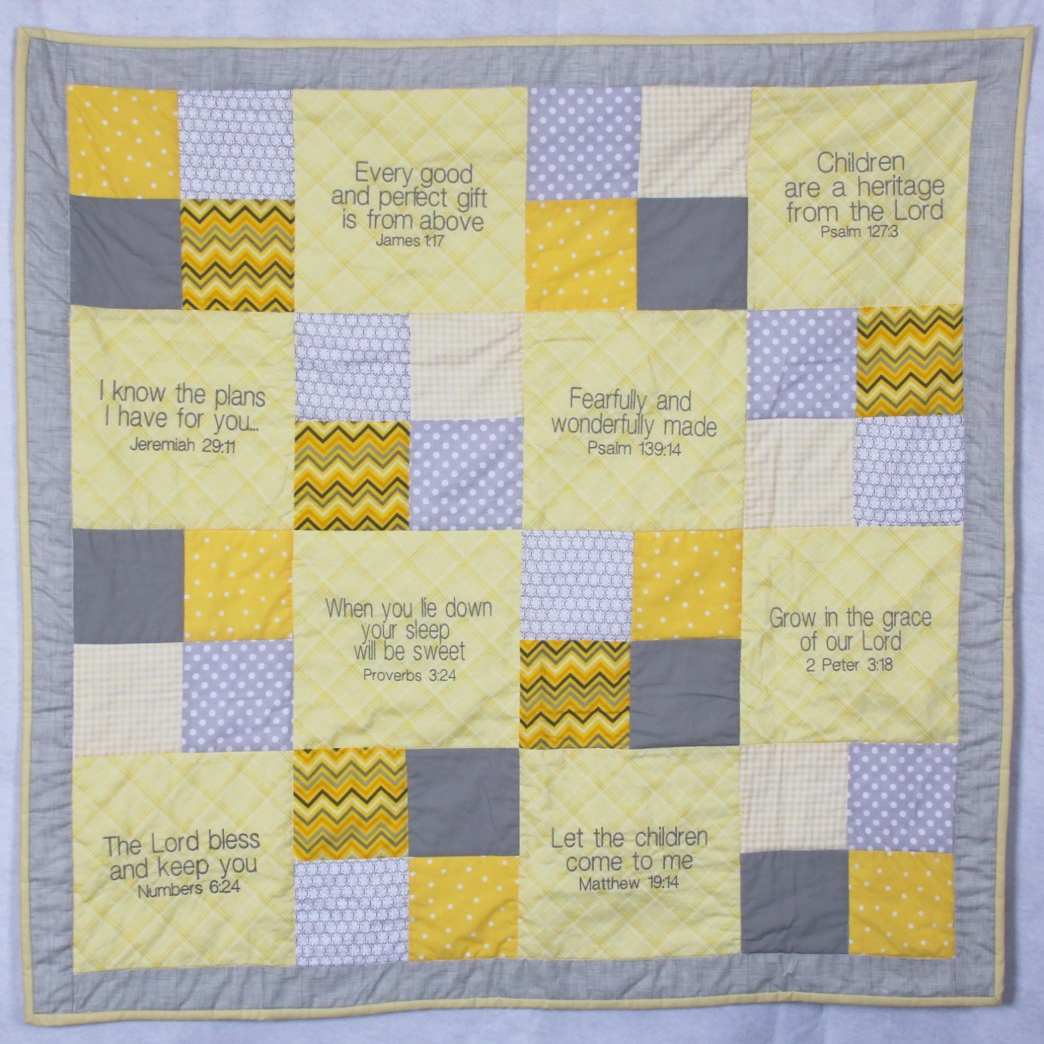 Embroidered Baby Quilts Yellow