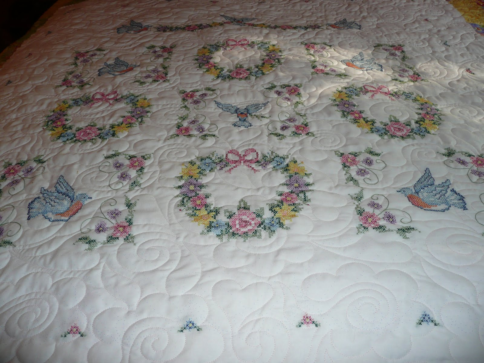 Floral Embroidered Baby Quilts