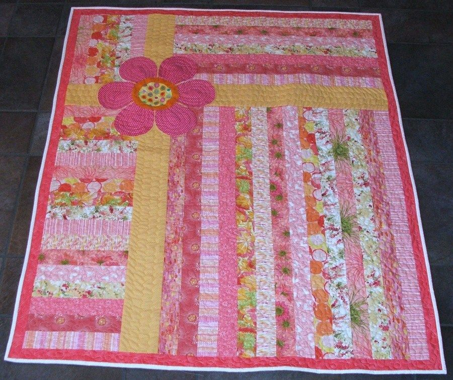 Image of: Flower Jelly Roll Baby Quilt