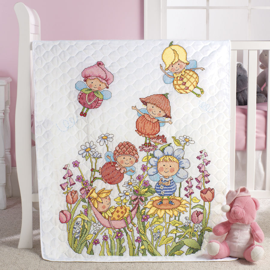 Garden Fairies Cross Stitch Baby Quilts