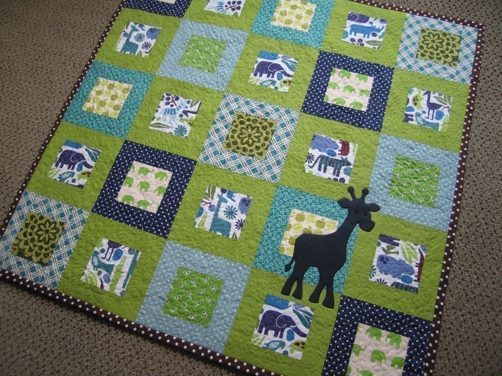 Image of: Green Baby Quilts