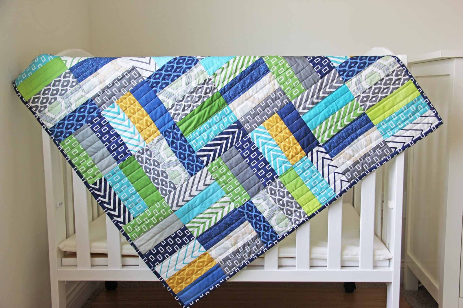 Image of: Jelly Roll Baby Quilt Blue