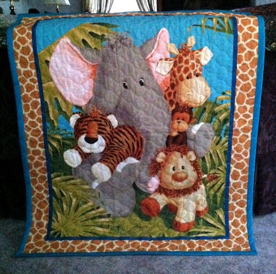 Picture of: Jungle Fabric Panels for Baby Quilts