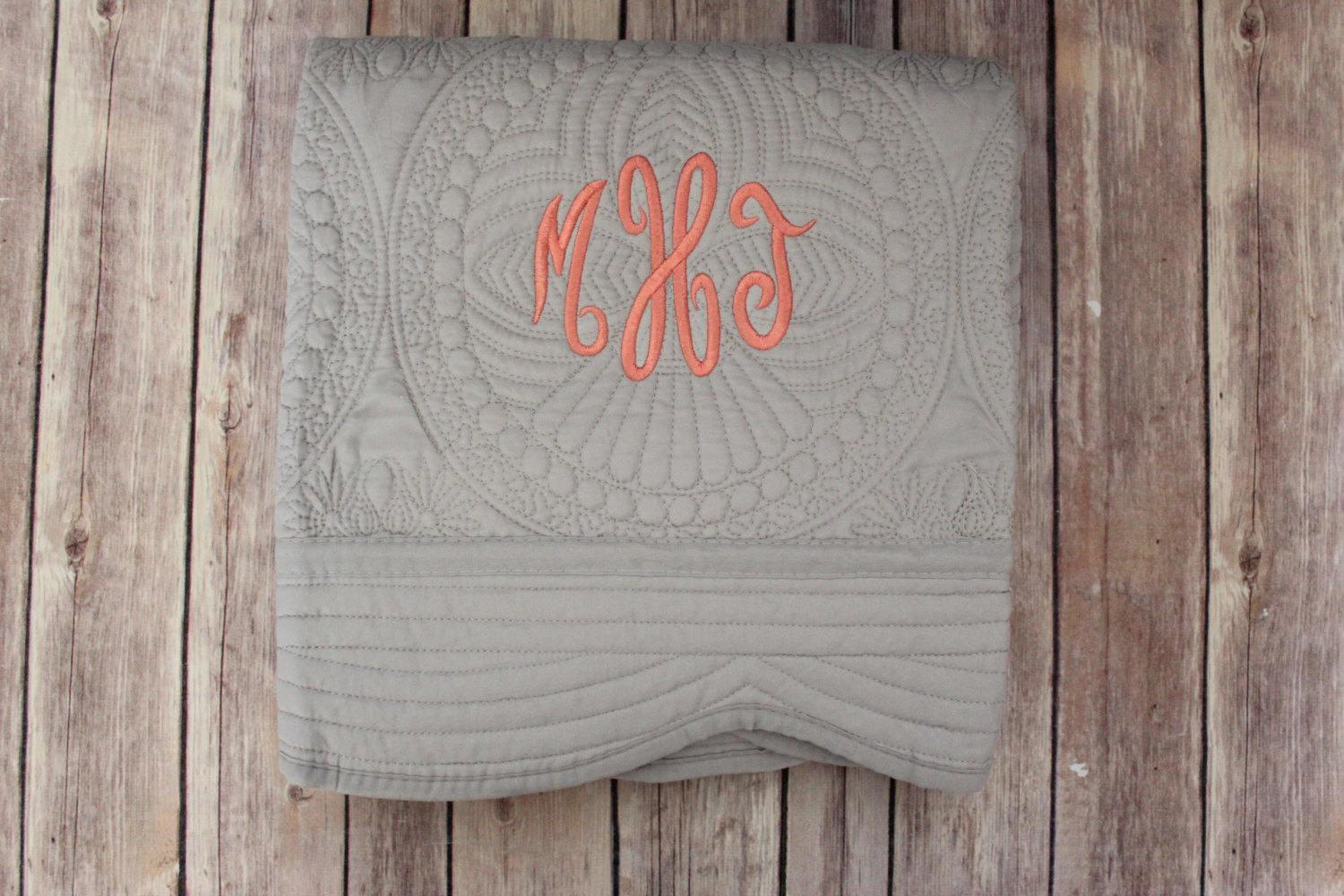 Picture of: Monogrammed Baby Quilts Gray