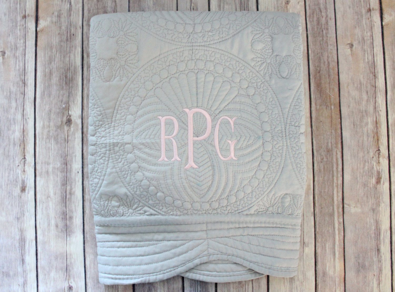 Picture of: Monogrammed Baby Quilts Grey