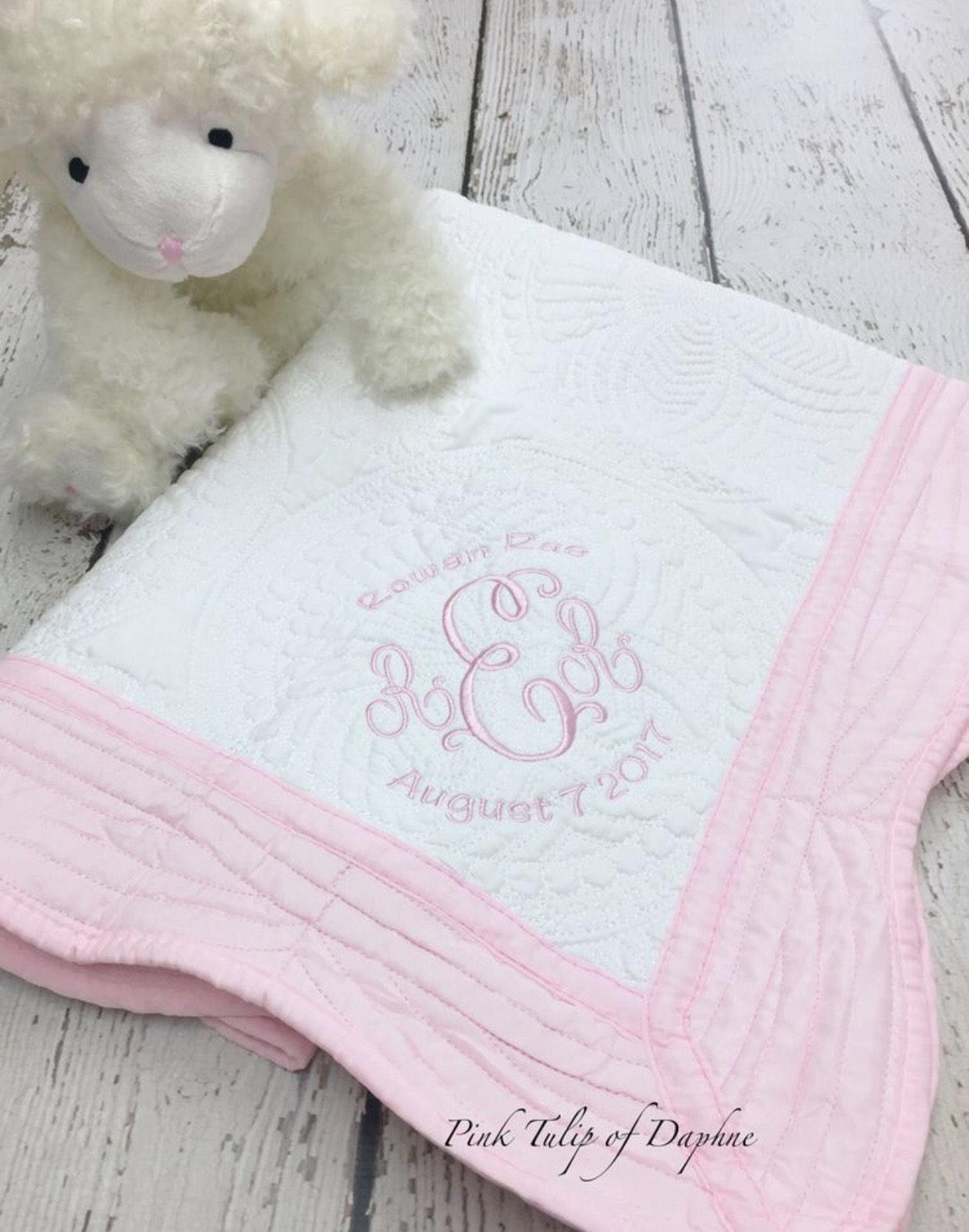 Picture of: Monogrammed Baby Quilts Pink