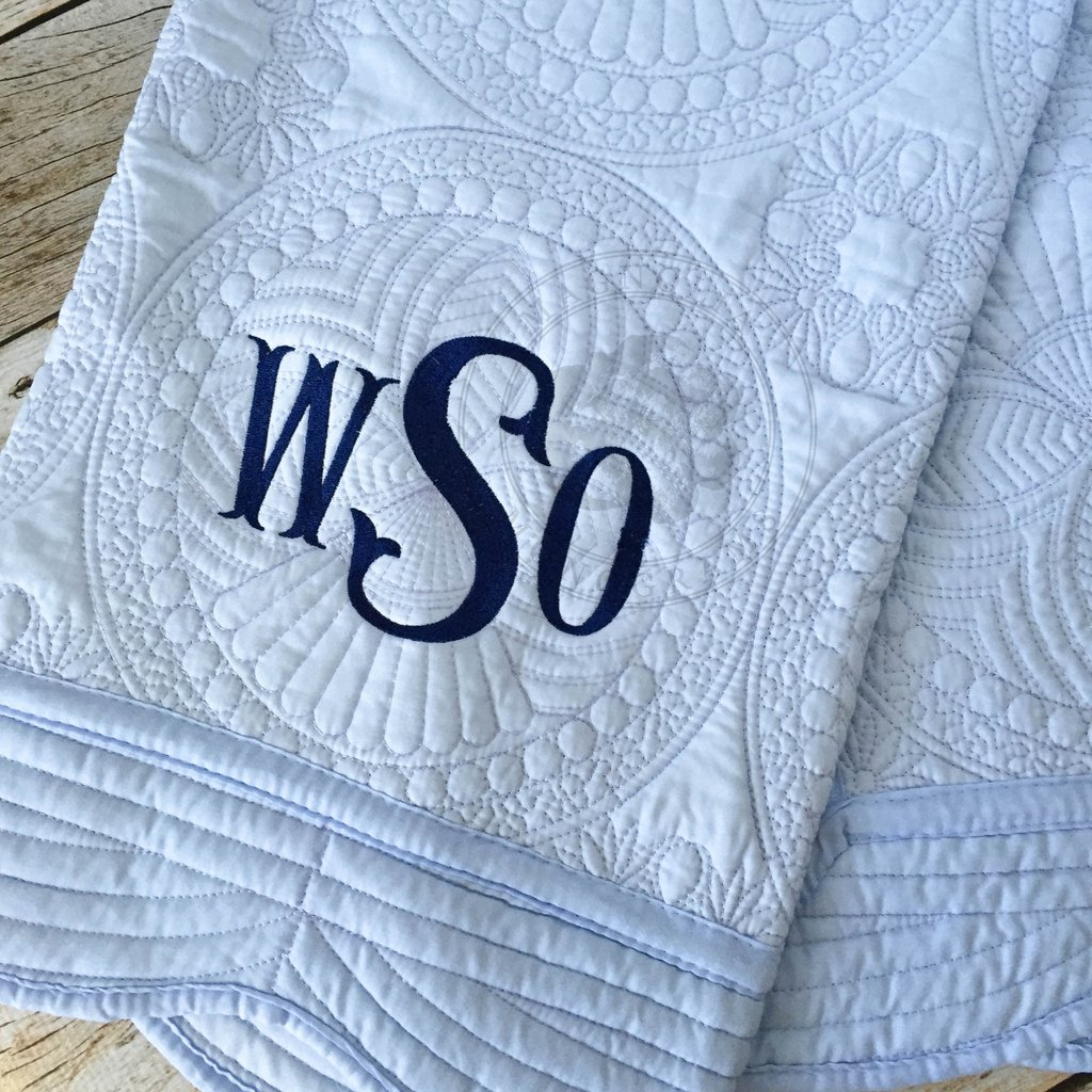 Picture of: Navy Monogrammed Baby Quilts