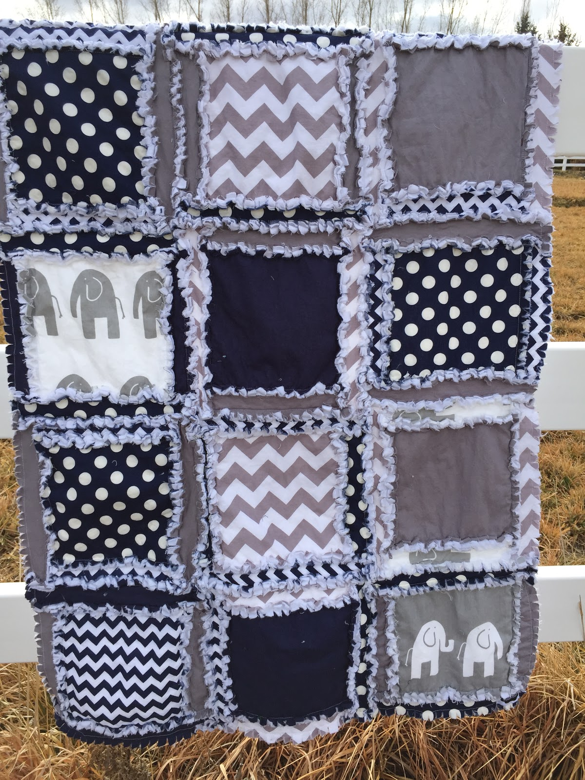 Image of: Navy Quilted Baby Blanket