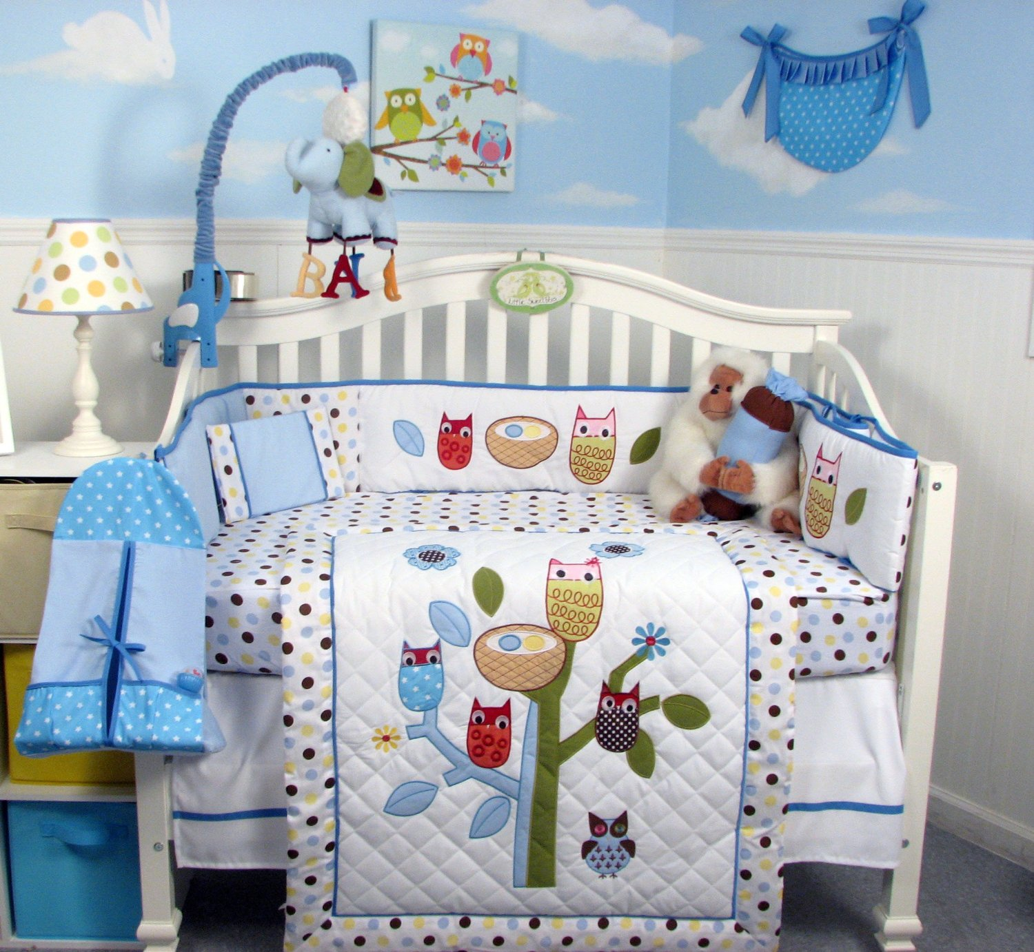 Image of: Owl Baby Quilt Blue