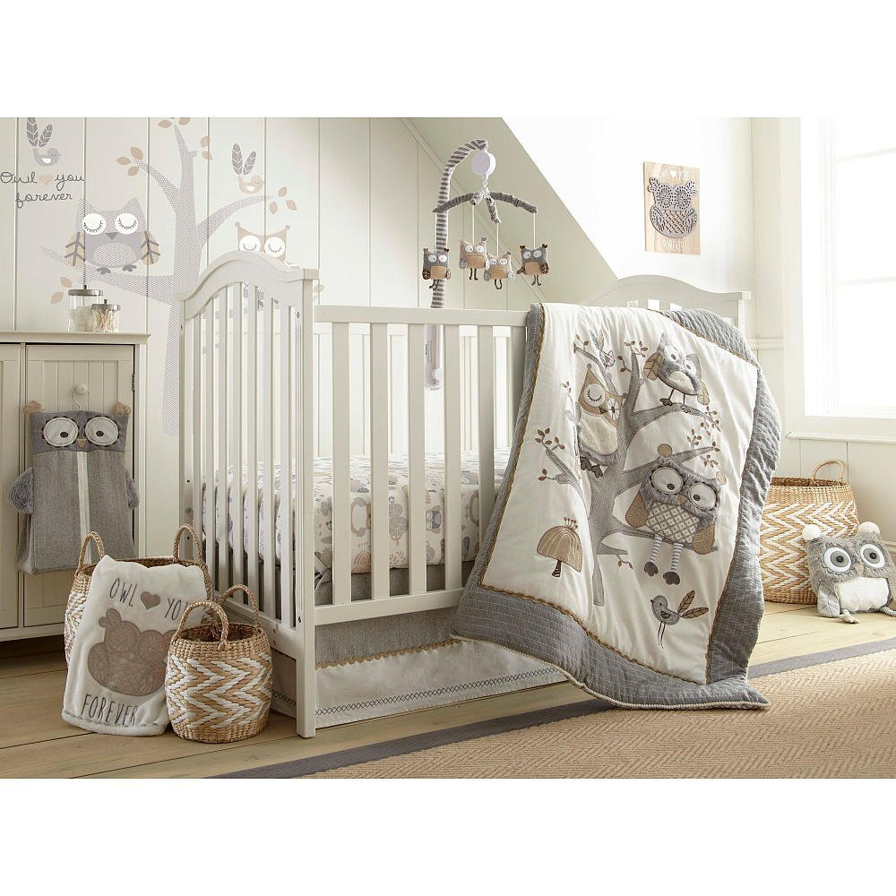 Image of: Owl Baby Quilt Gray